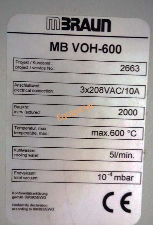 Mbraun Labmaster 130 Glovebox with MB-VOH-600 high